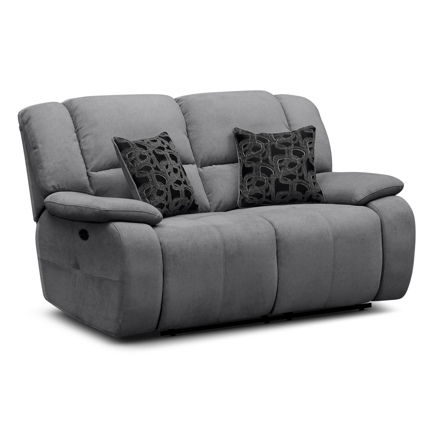 Destin gray upholstery power reclining loveseat value city furniture Reclining loveseat sale
