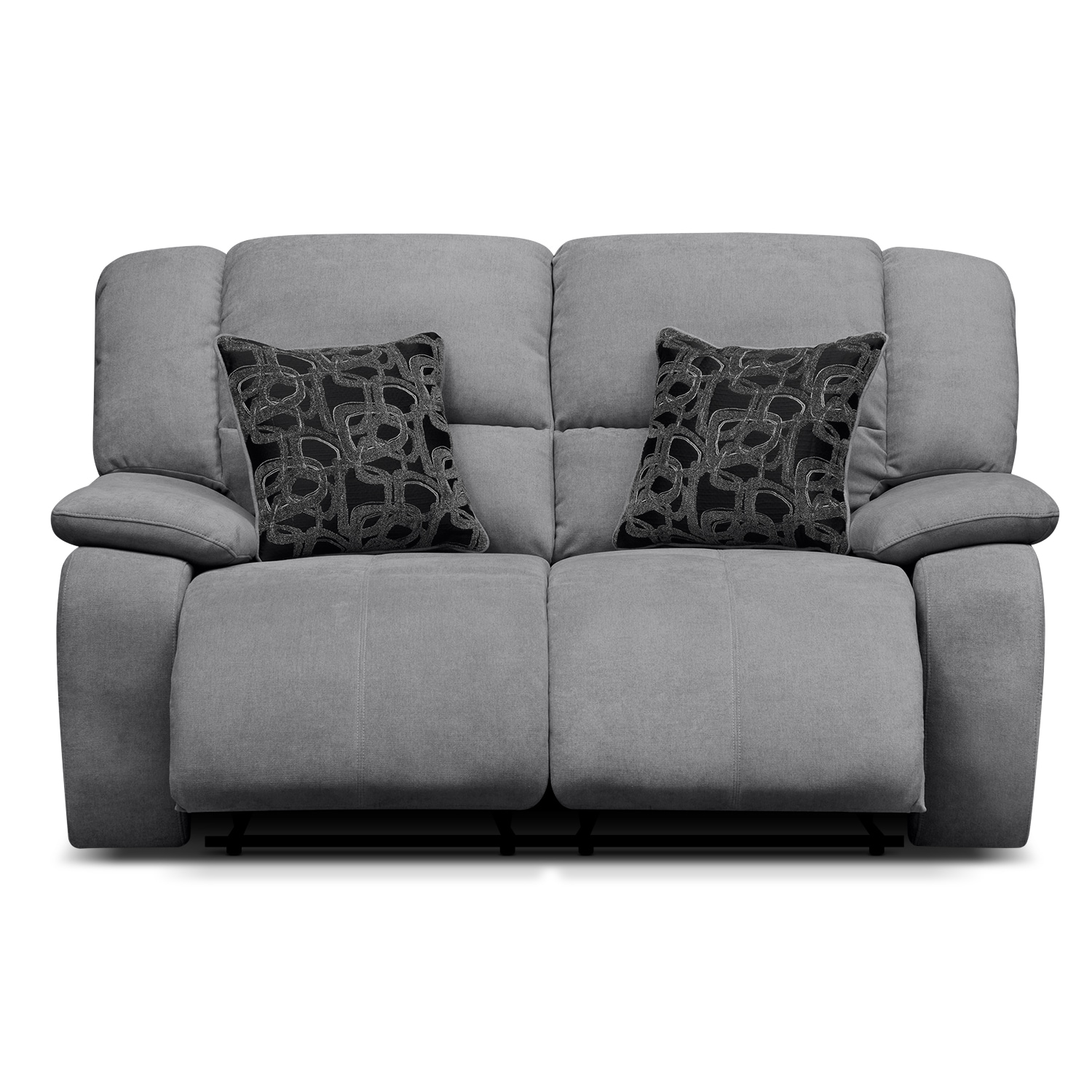 Destin gray upholstery power reclining loveseat value Power reclining sofas and loveseats