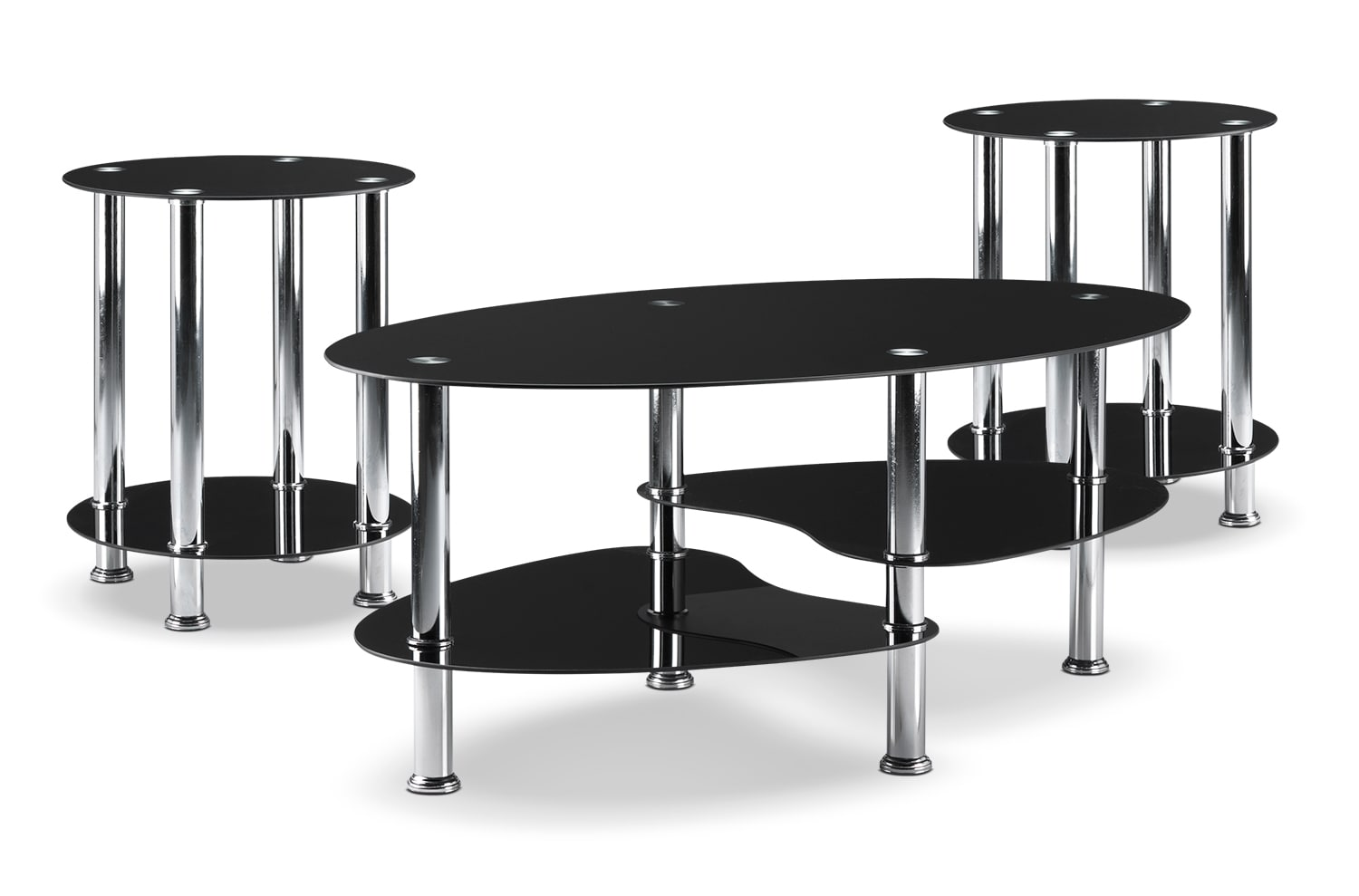 Oriana Coffee Table and Two End Tables - Black
