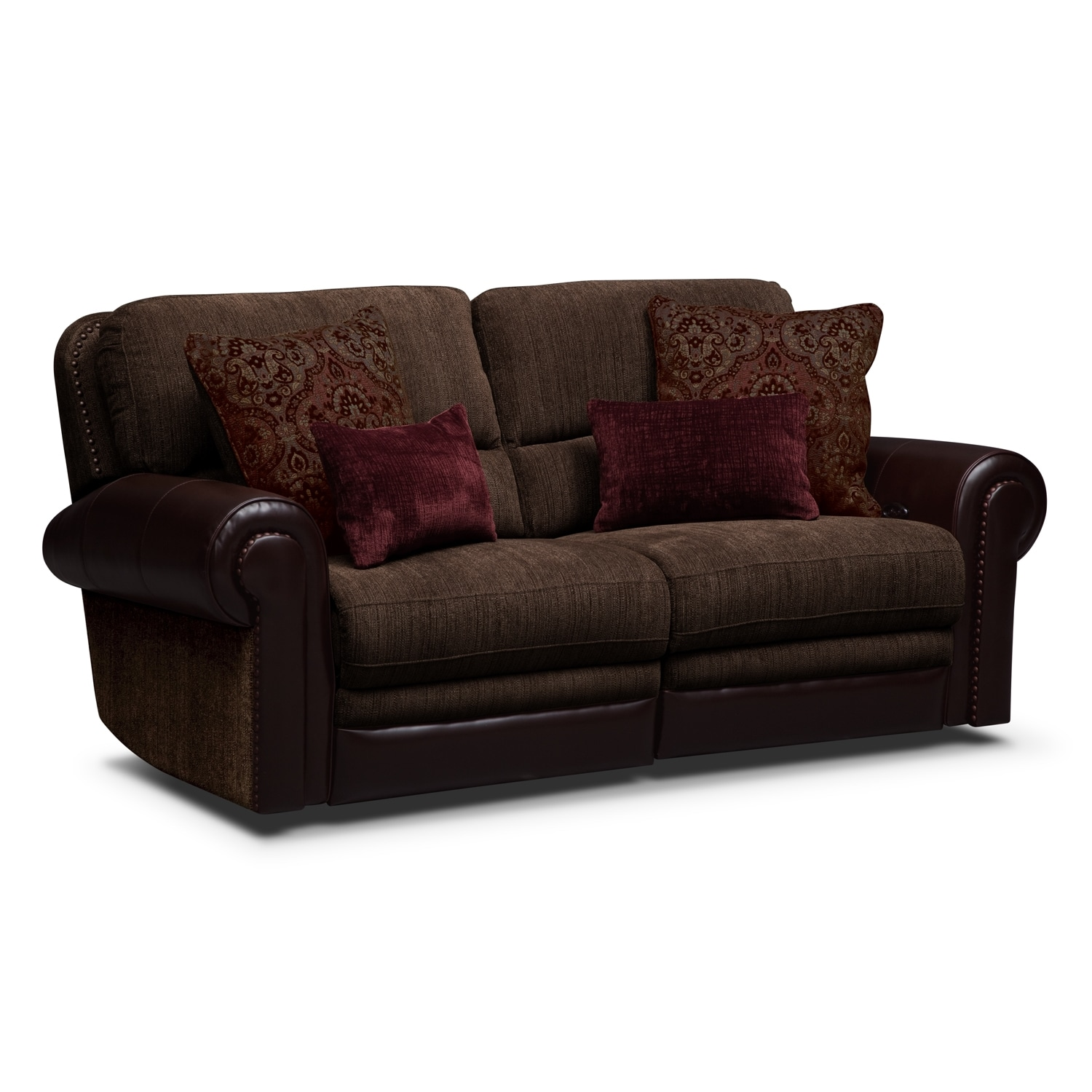 Prescott upholstery 2 pc power reclining sofa value for Living room 2 sofas