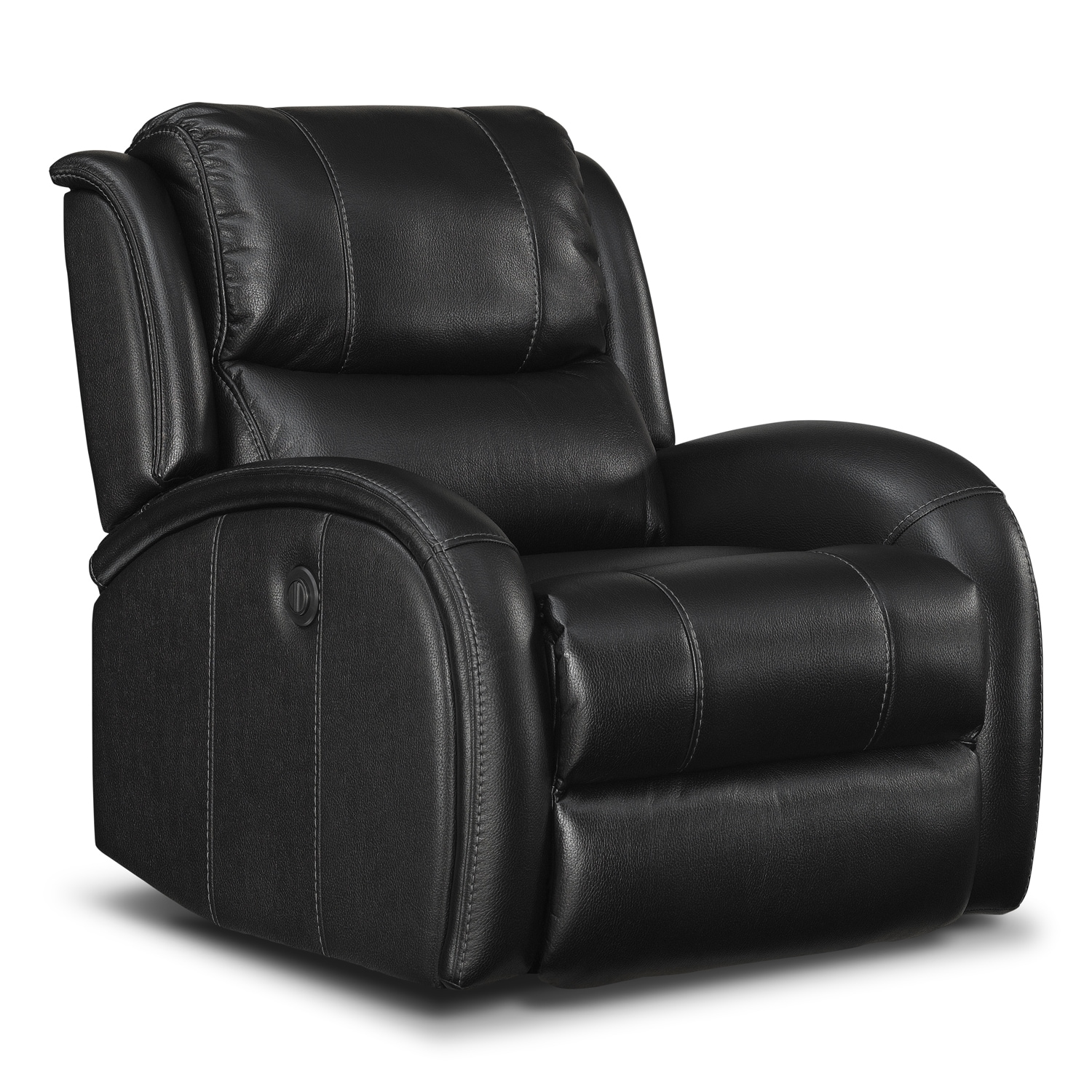 Corsica power recliner black value city furniture for Chair recliner