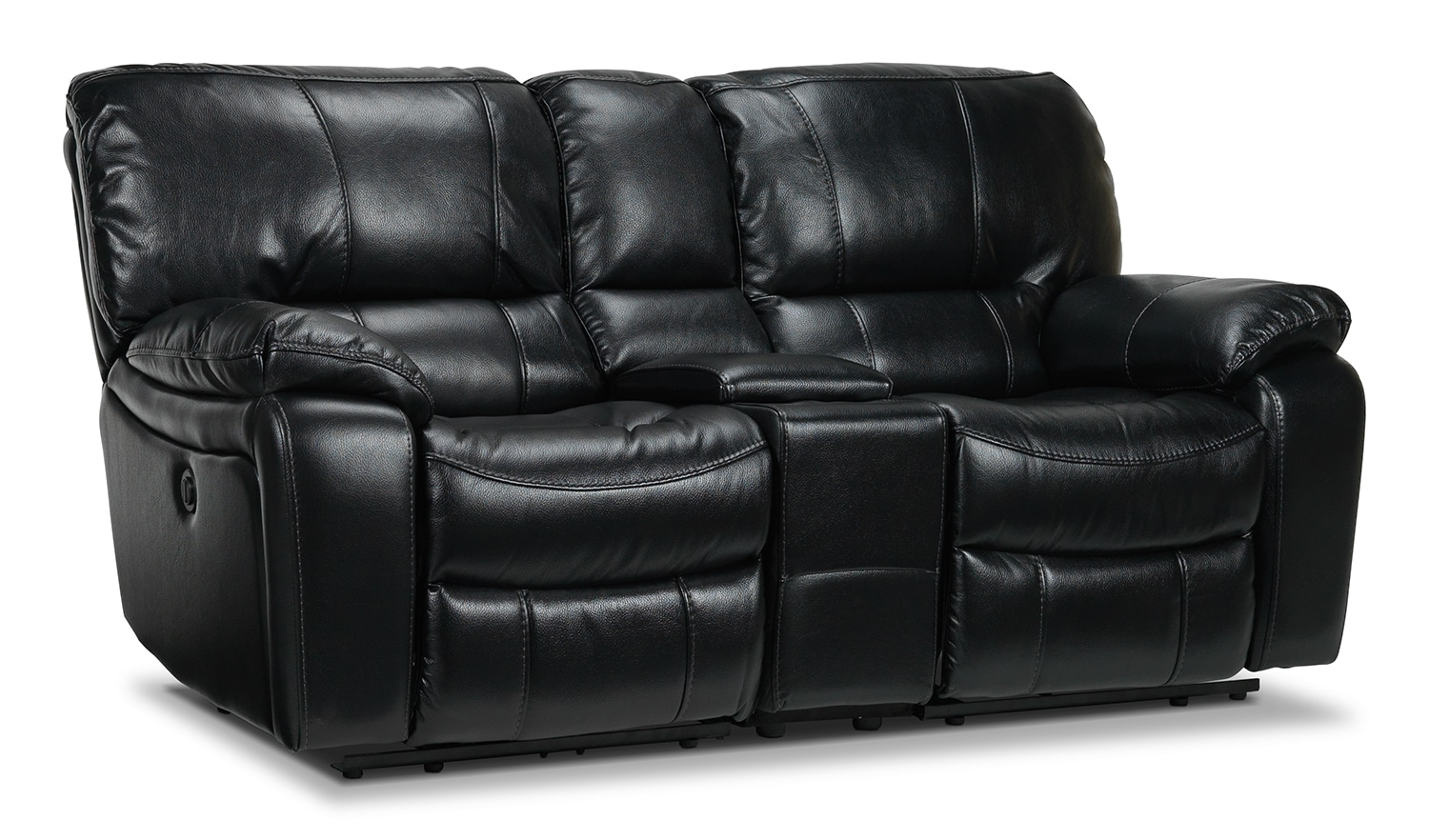 Living Room Furniture - Santorini Power Reclining Loveseat - Black