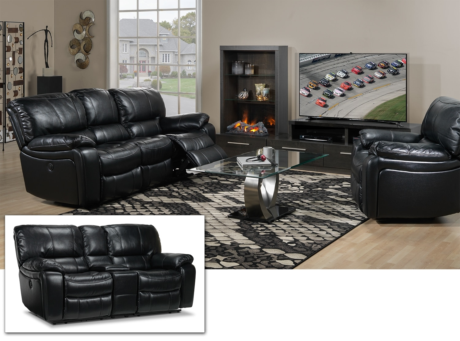 Santorini 3 Pc. Living Room Package - Black