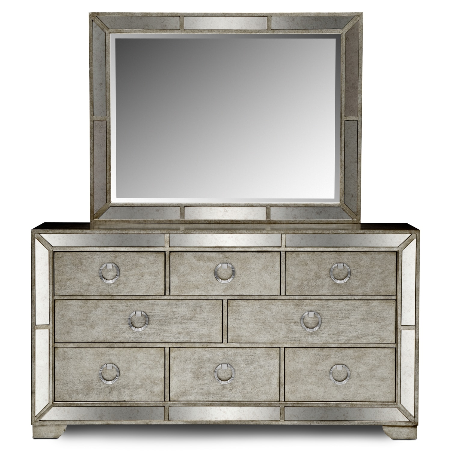 Angelina dresser and mirror metallic value city furniture for Angelina bedroom furniture set