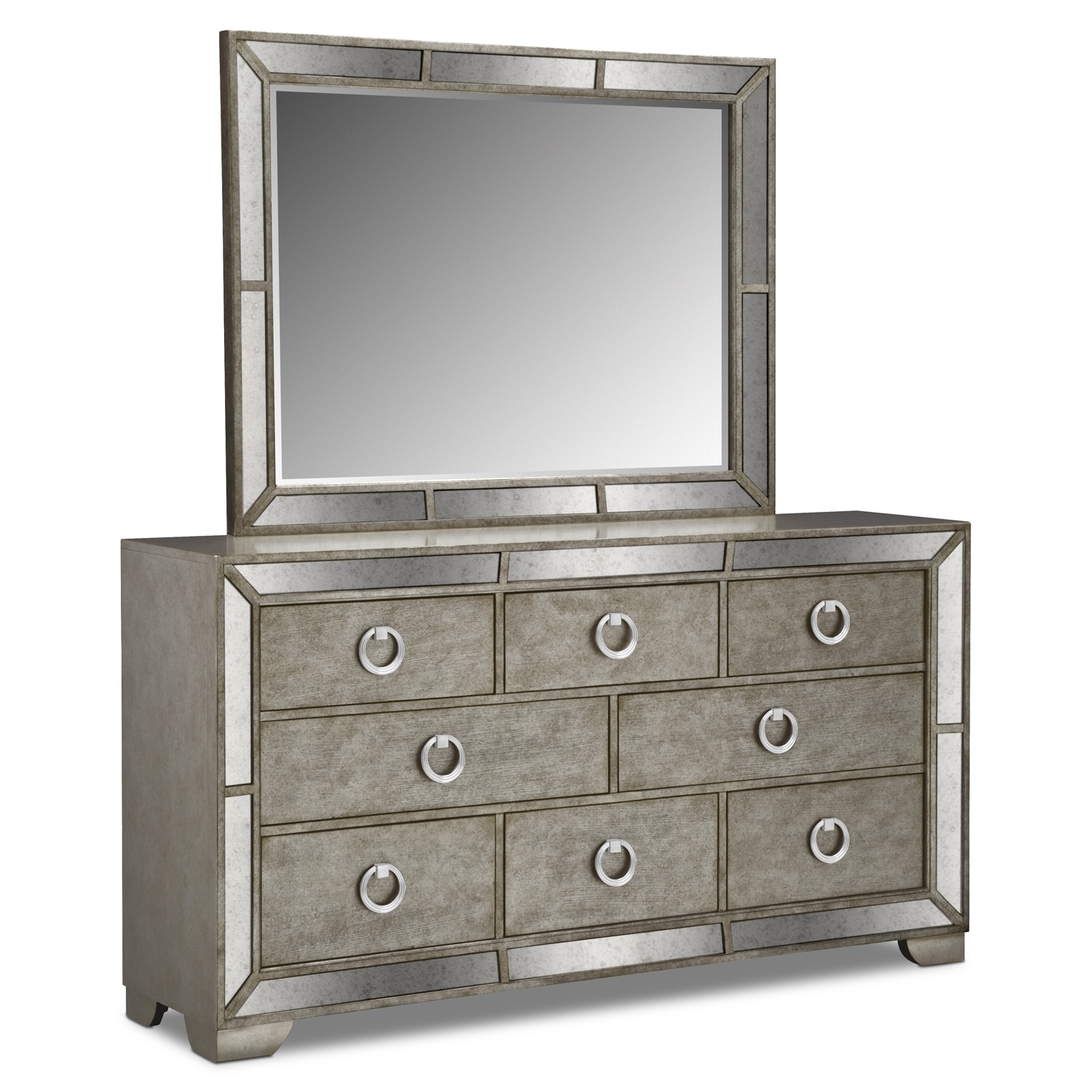 bedroom furniture angelina dresser and mirror metallic