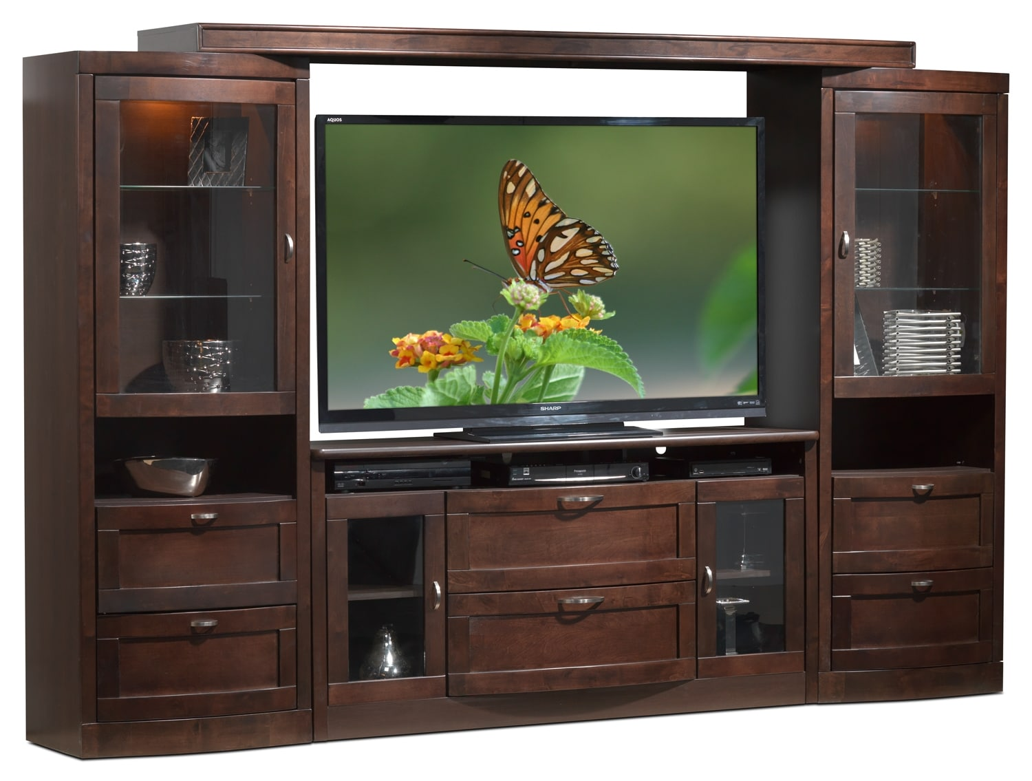Entertainment Furniture - Huxley 4 Pc. Wall Entertainment Unit - Java Maple