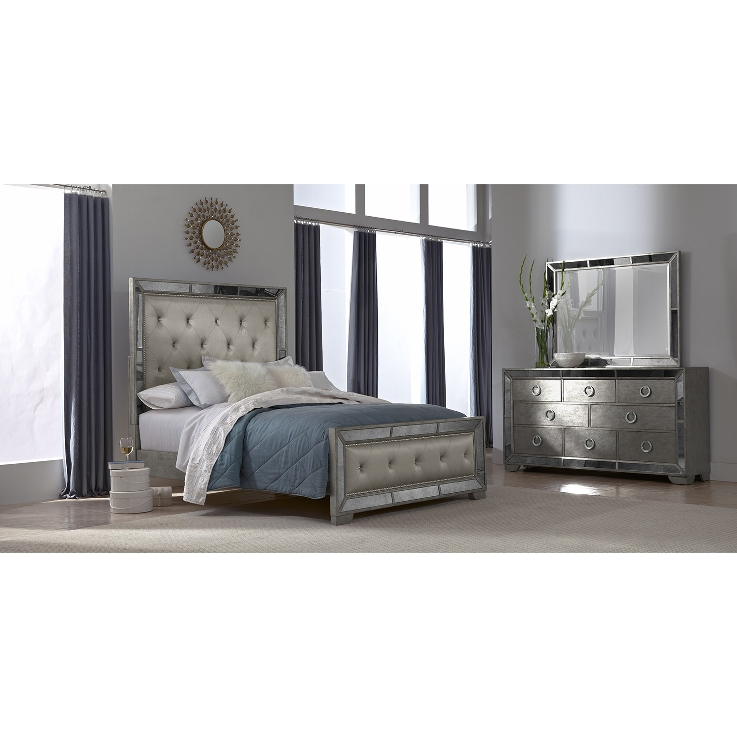 Angelina 5 pc queen bedroom american signature furniture for Furniture queen bedroom sets