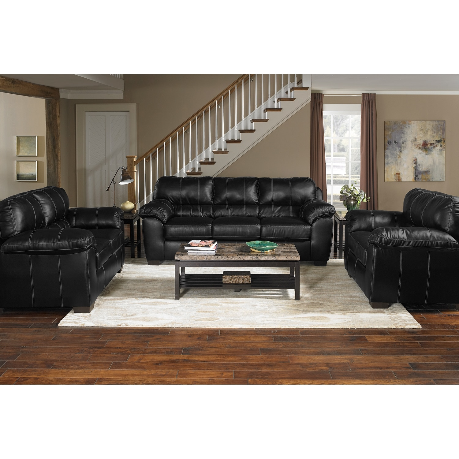 Colton Leather 3 Pc Living Room Value City Furniture