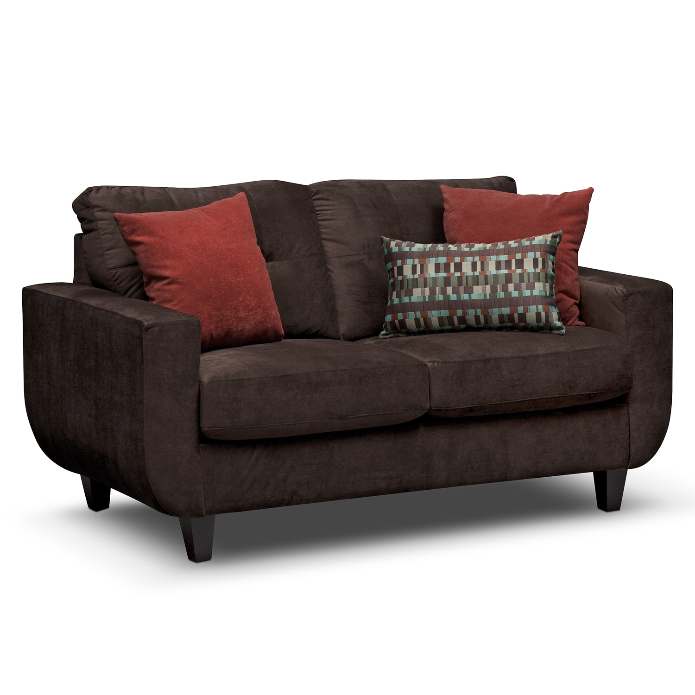 Living Room Furniture - Walker Chocolate Loveseat
