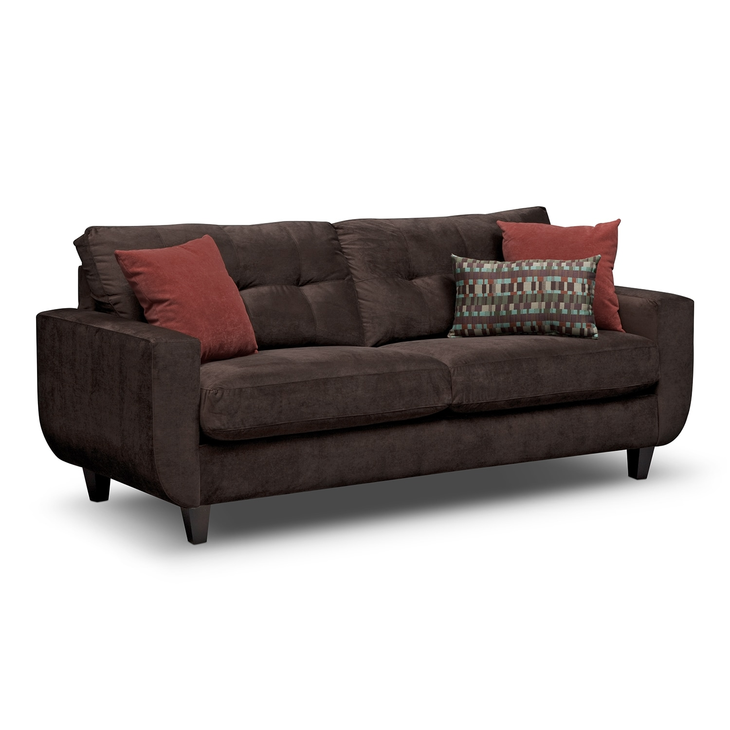 Living Room Furniture - Walker Chocolate Sofa