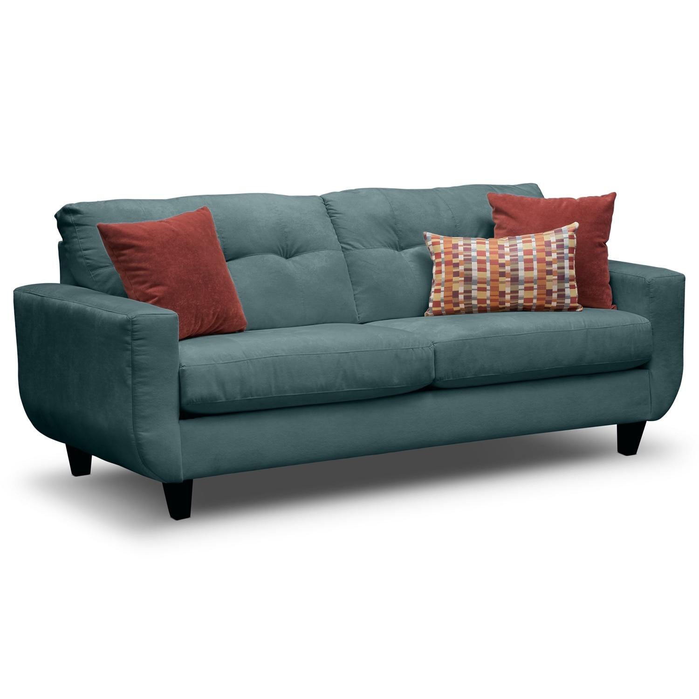 Living Room Furniture - Walker Blue Sofa