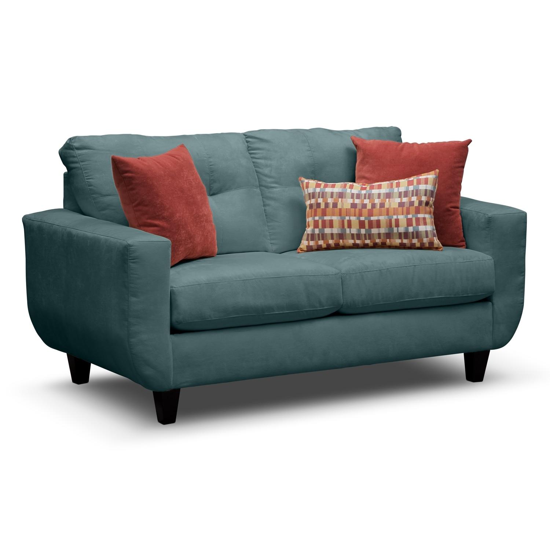 Living Room Furniture - Walker Blue Loveseat