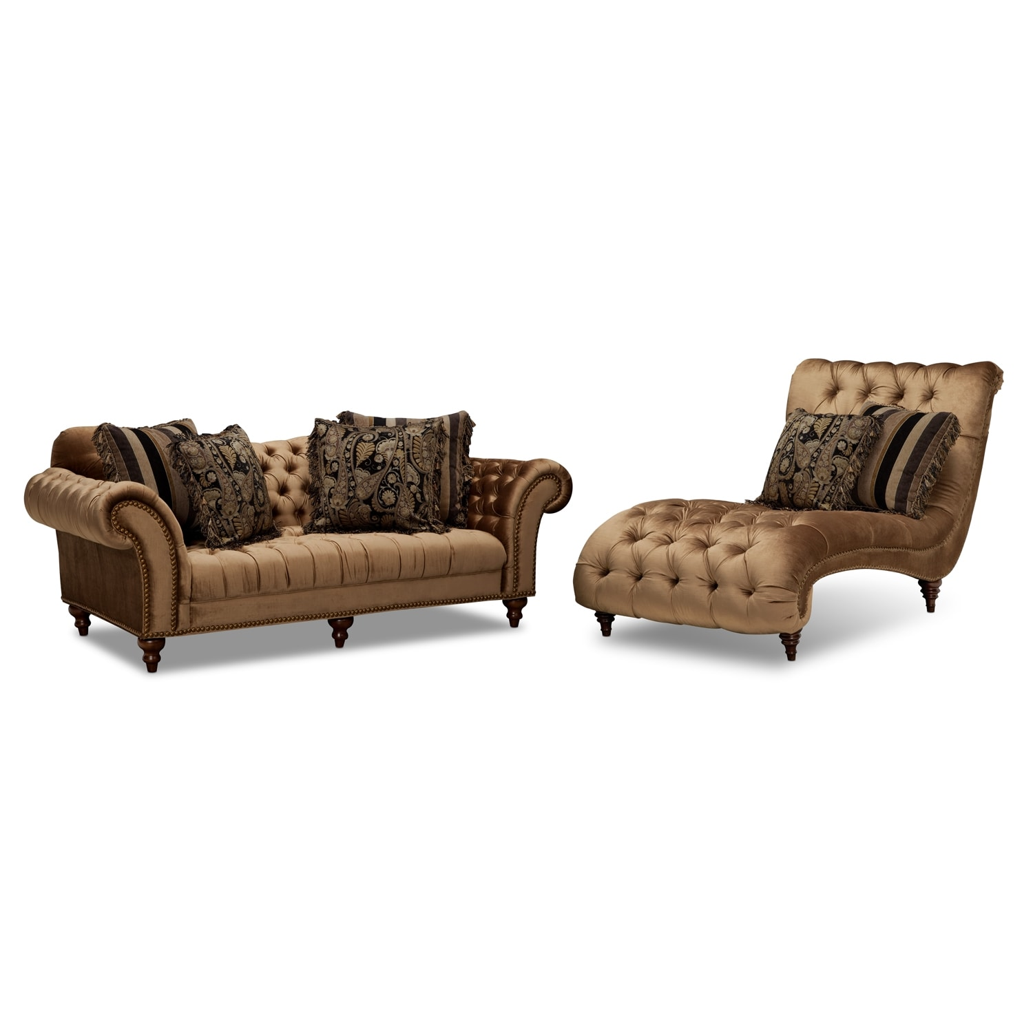 Brittney bronze upholstery 2 pc living room w chaise for Chaise lounge couch set