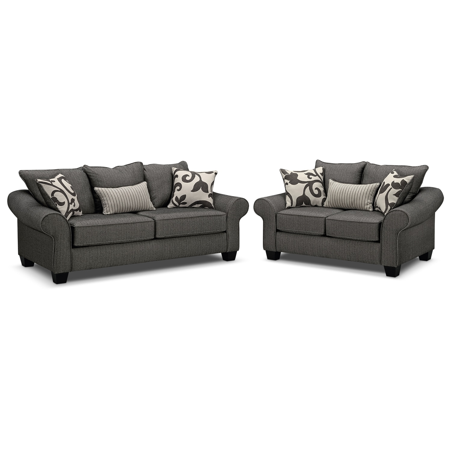 American Signature Furniture Living Room: Colette Sofa And Loveseat Set - Gray