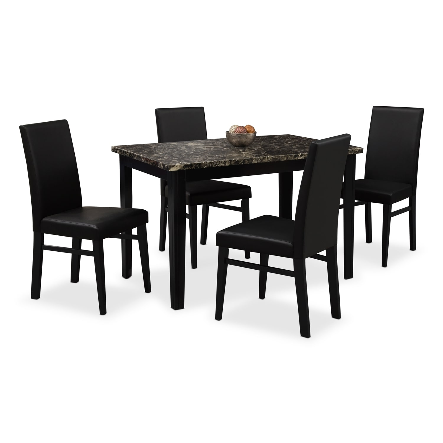 Shadow table and 4 chairs black value city furniture for Black dining sets with 4 chairs