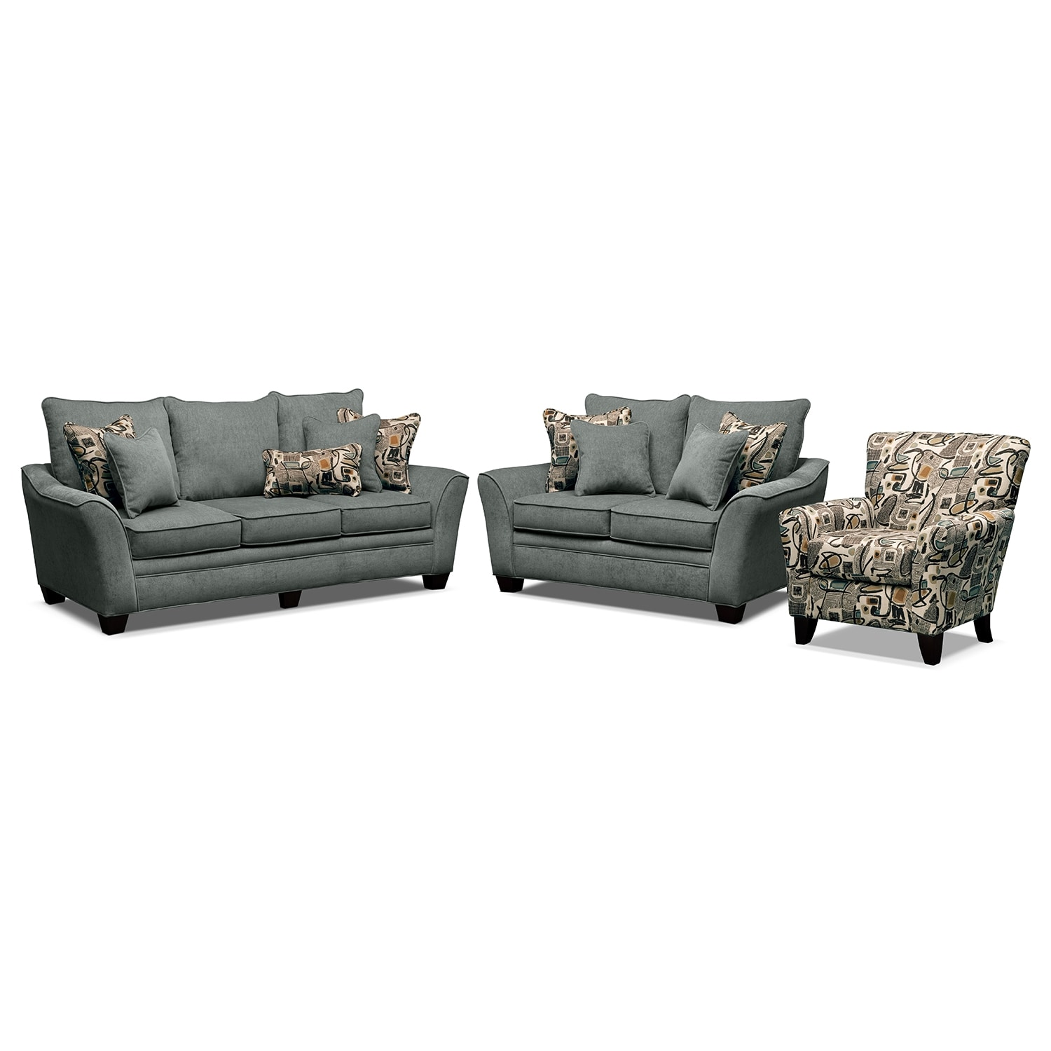 living room furniture albion blue 3 pc living room w accent chair