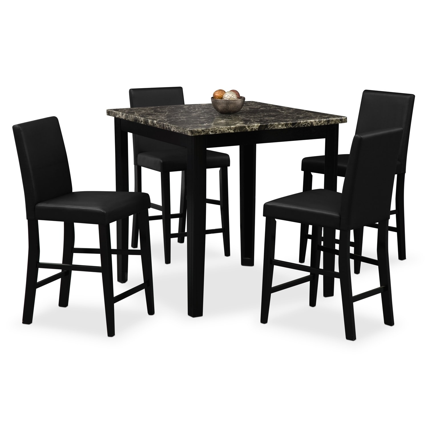 Shadow counter height table and 4 chairs black value city furniture - Black dining room tables ...