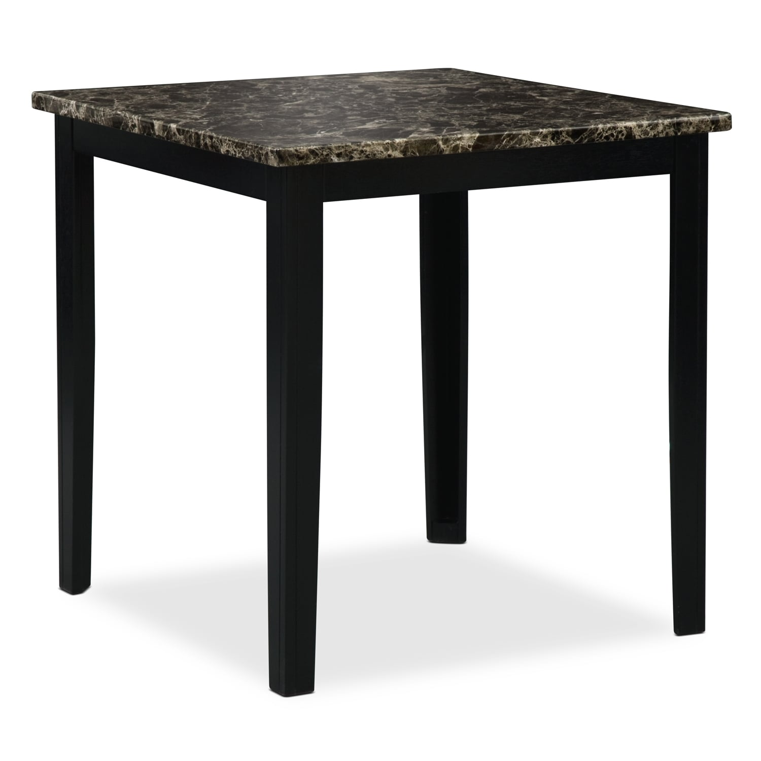 Shadow counter height dining table black value city for Furniture dining table