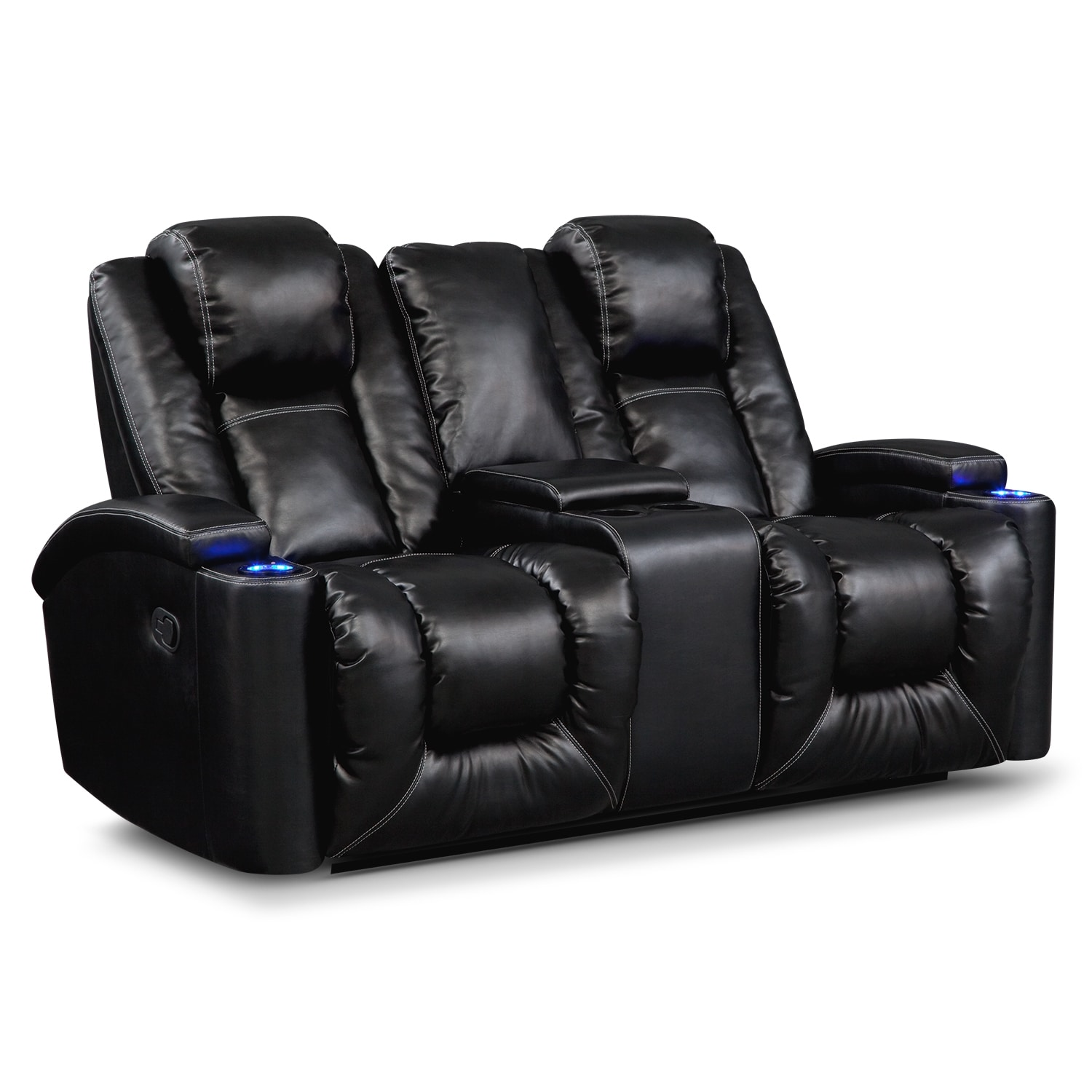 Polaris Leather Gliding Reclining Loveseat Value City Furniture