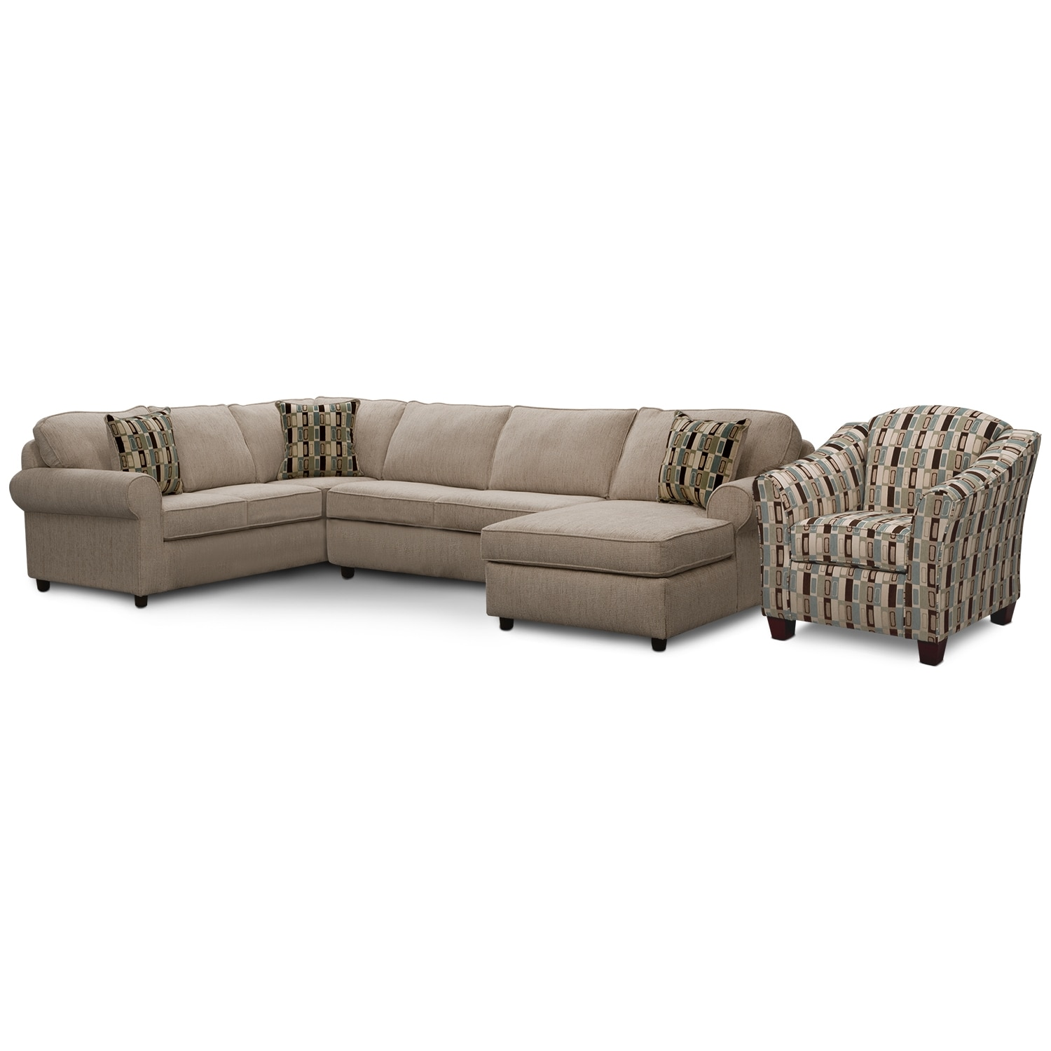 [Monarch II 3 Pc. Sectional and Accent Chair]