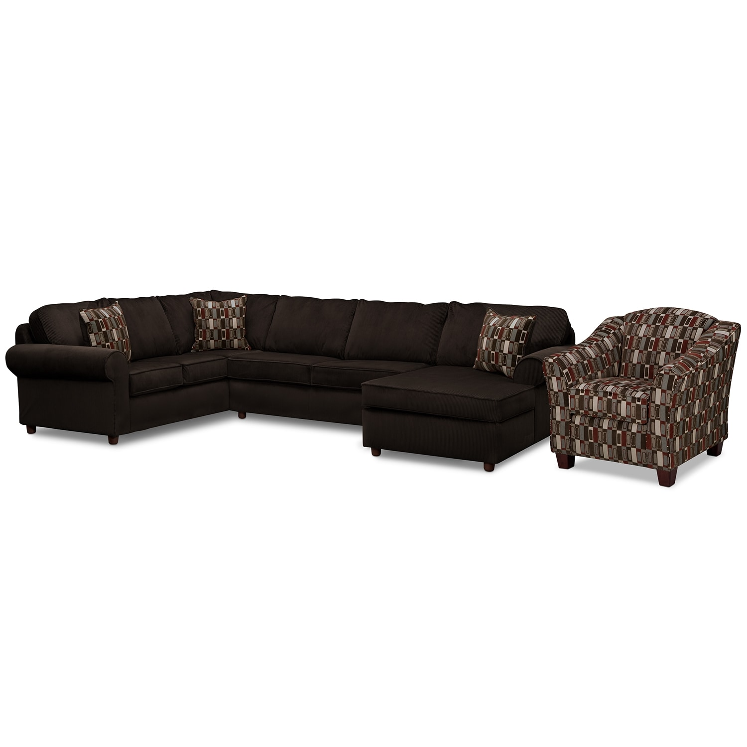 [Monarch 3 Pc. Sectional and Accent Chair]