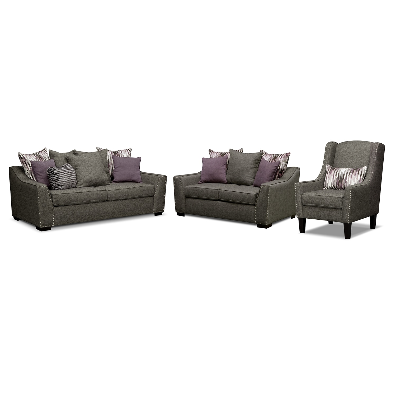 [Ritz 3 Pc. Living Room w/Accent Chair]