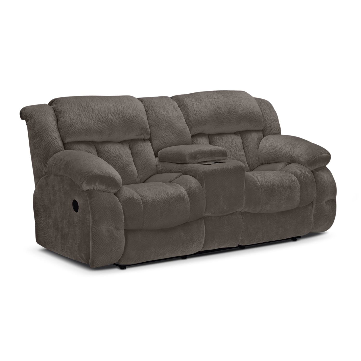 Mullins Gray Reclining Loveseat With Console