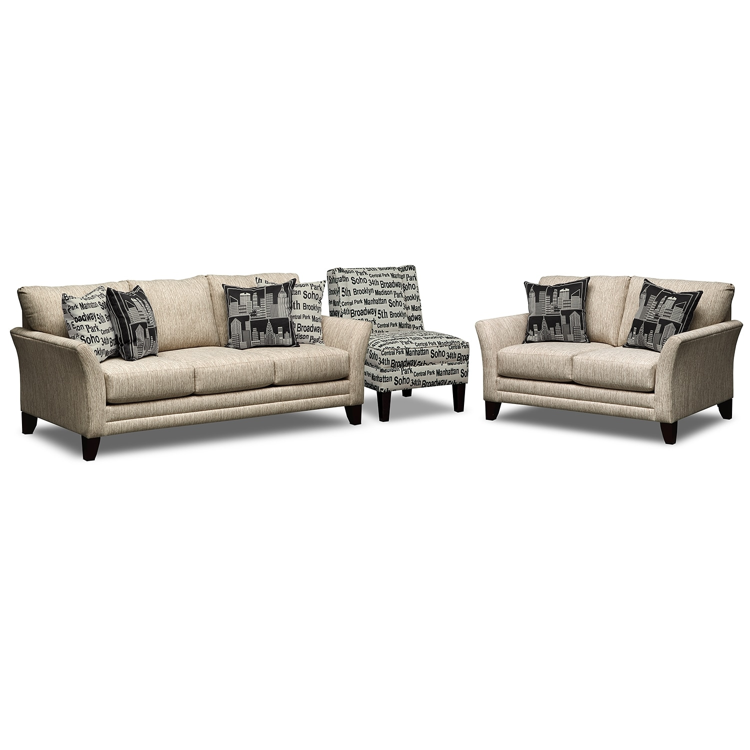 Union Square Upholstery 3 Pc Living Room W Accent Chair Value City Furniture