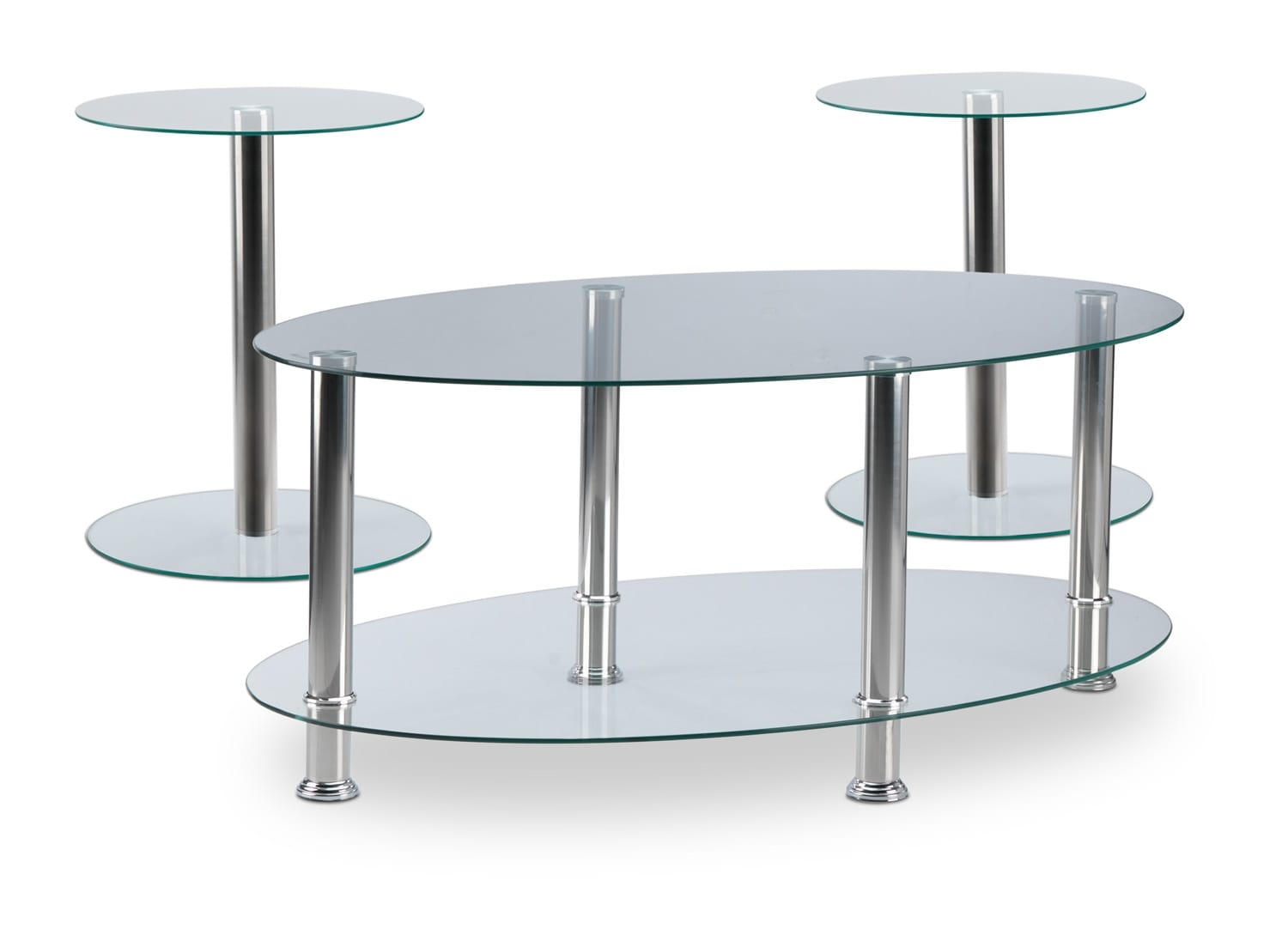 Jenny Coffee Table and Two End Tables - Chrome