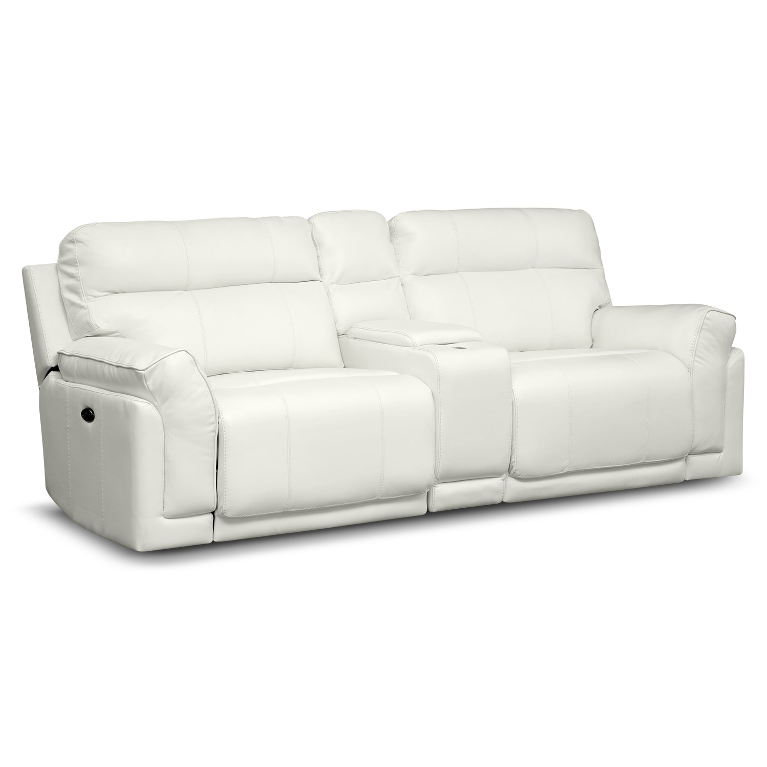 Antonio white leather power reclining sofa with console Power loveseat recliner