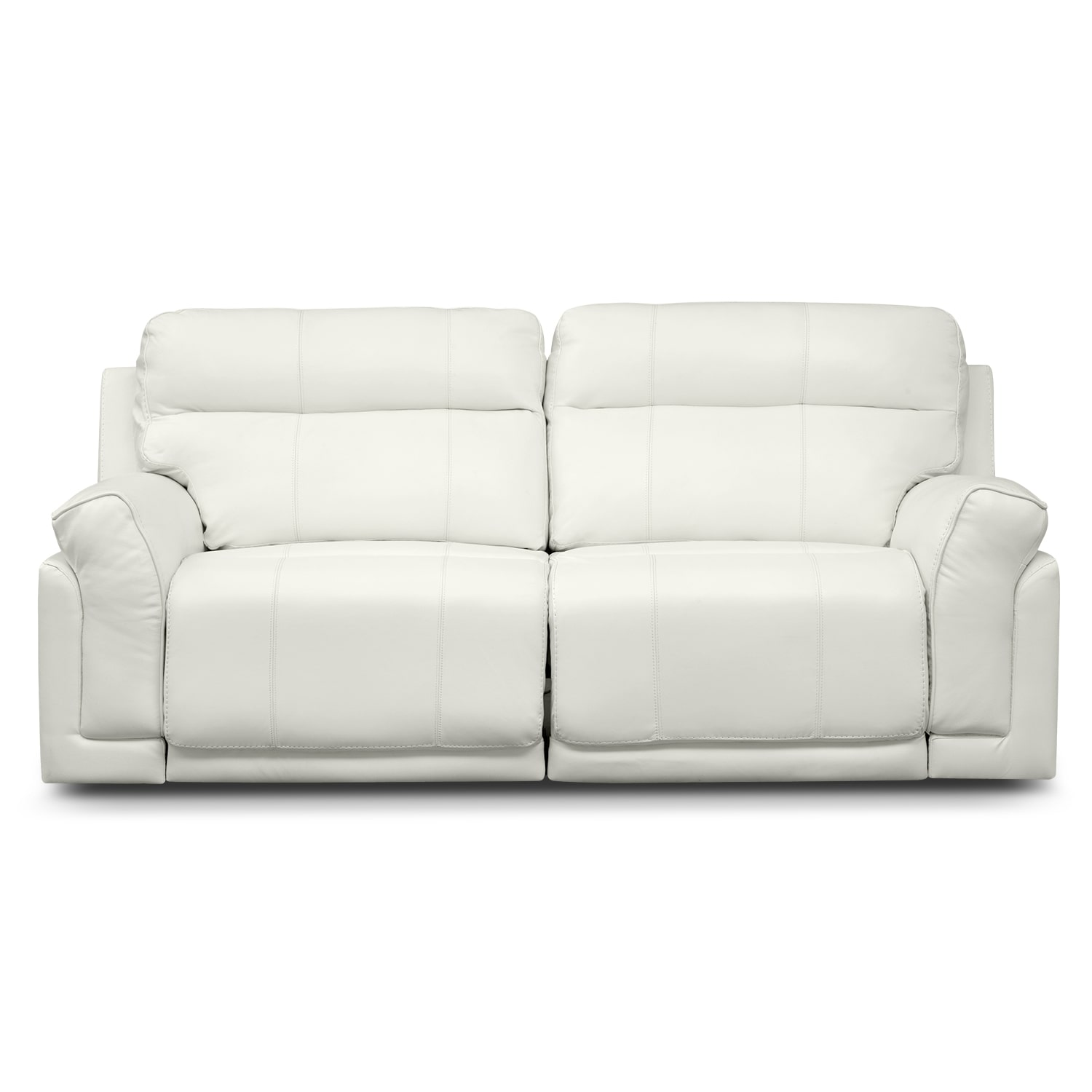Antonio white power reclining sofa furniturecom for White sectional sofa with recliners