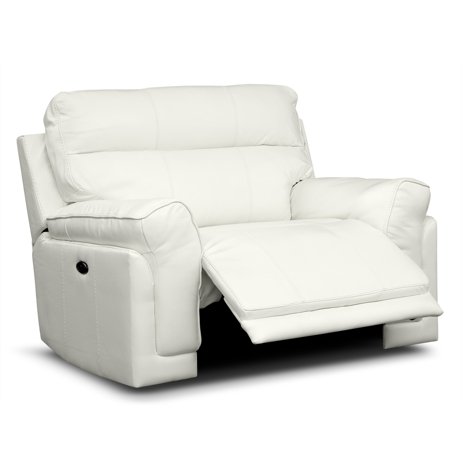 Antonio White Leather Power Recliner Furniturecom