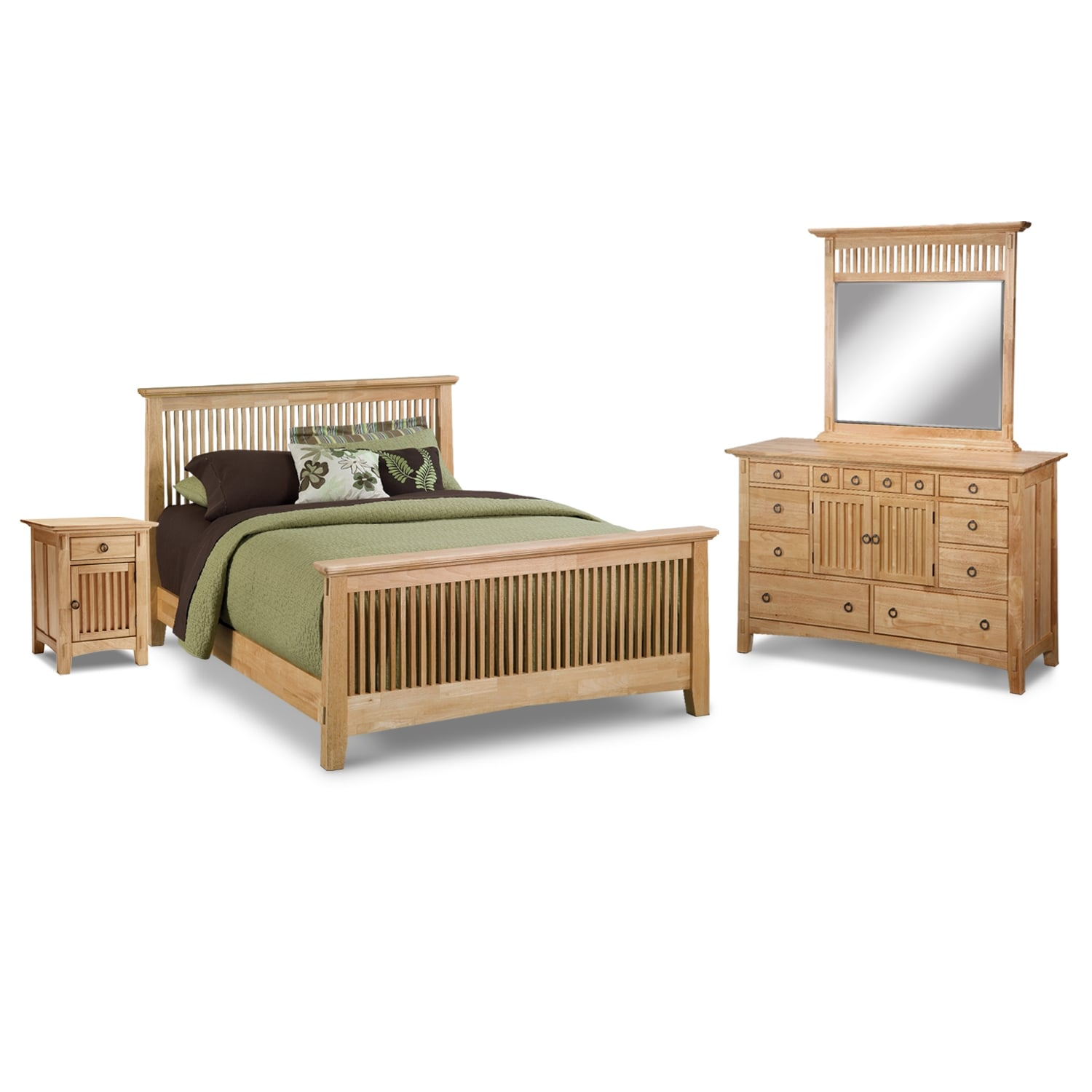 Arts crafts light bedroom 6 pc queen bedroom value for American furniture gallery bedroom sets