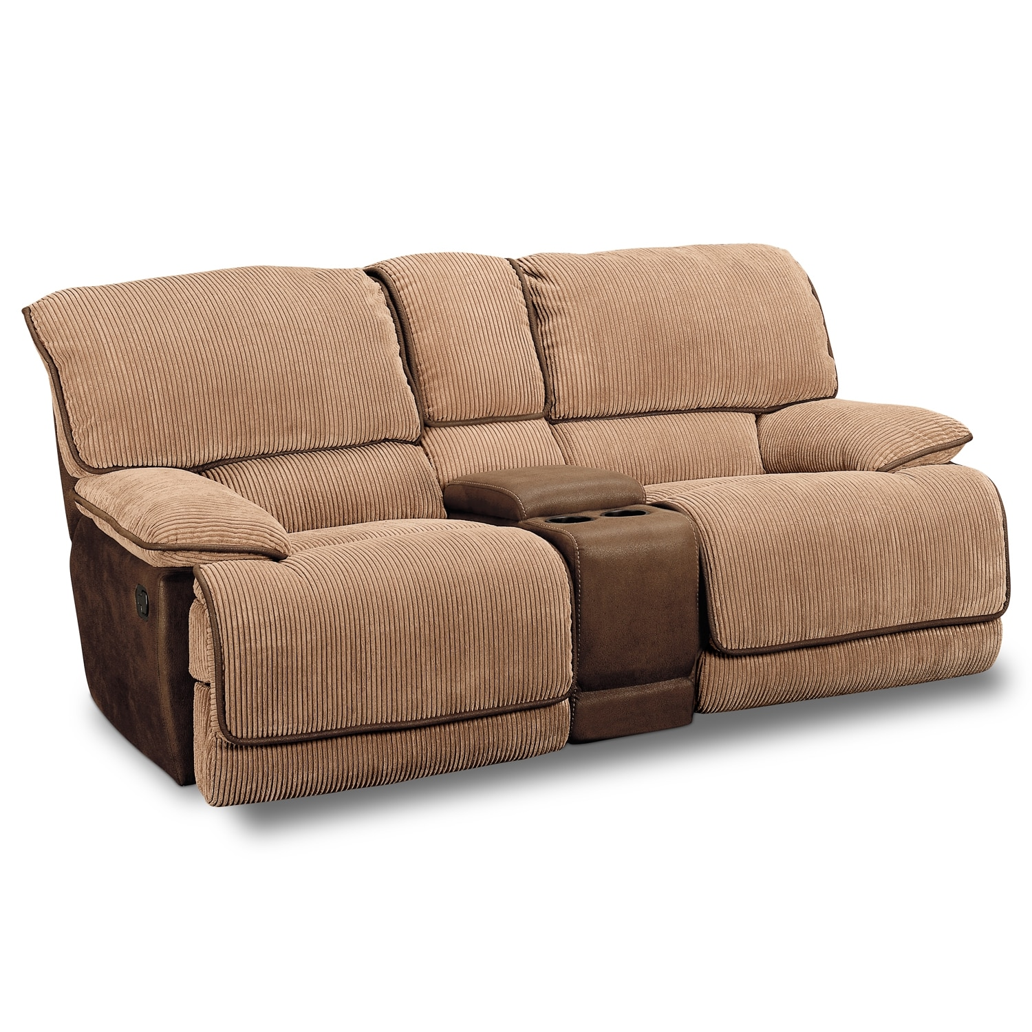 Laguna gliding reclining loveseat camel value city for Couch and loveseat
