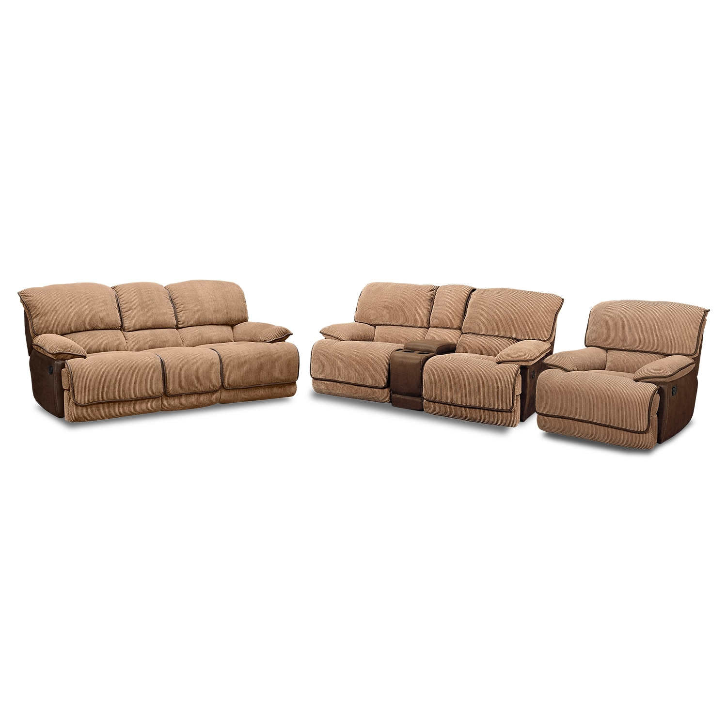 Laguna Reclining Sofa Loveseat And Glider Recliner Set Camel American Signature Furniture