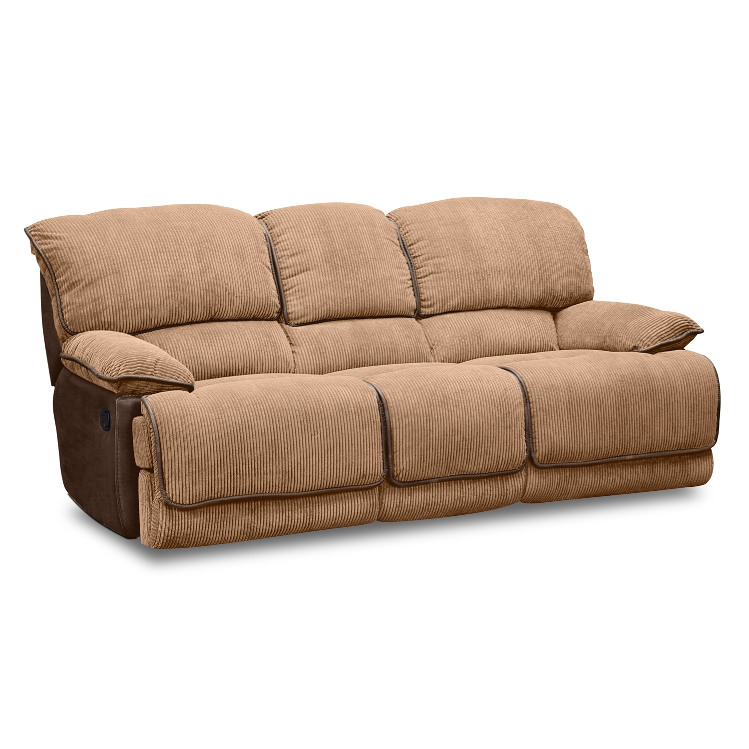 Laguna Reclining Sofa And Gliding Reclining Loveseat Set Camel Value City Furniture