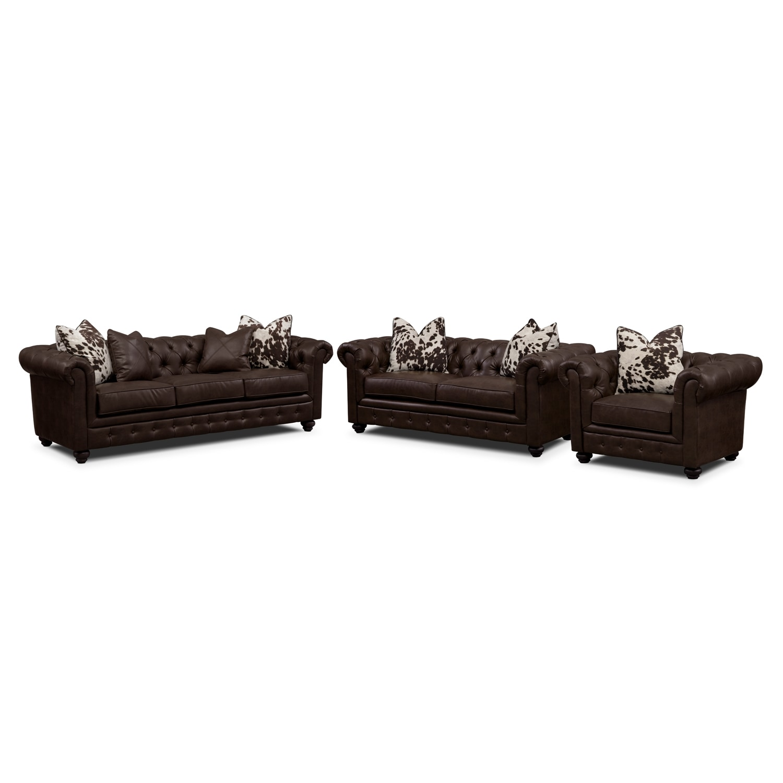 [Madeline Chocolate 3 Pc. Living Room Set]