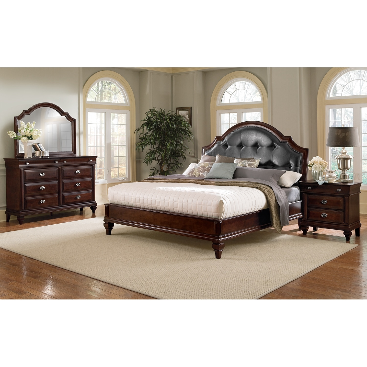 Manhattan 6 piece king bedroom set cherry value city for King bedroom furniture