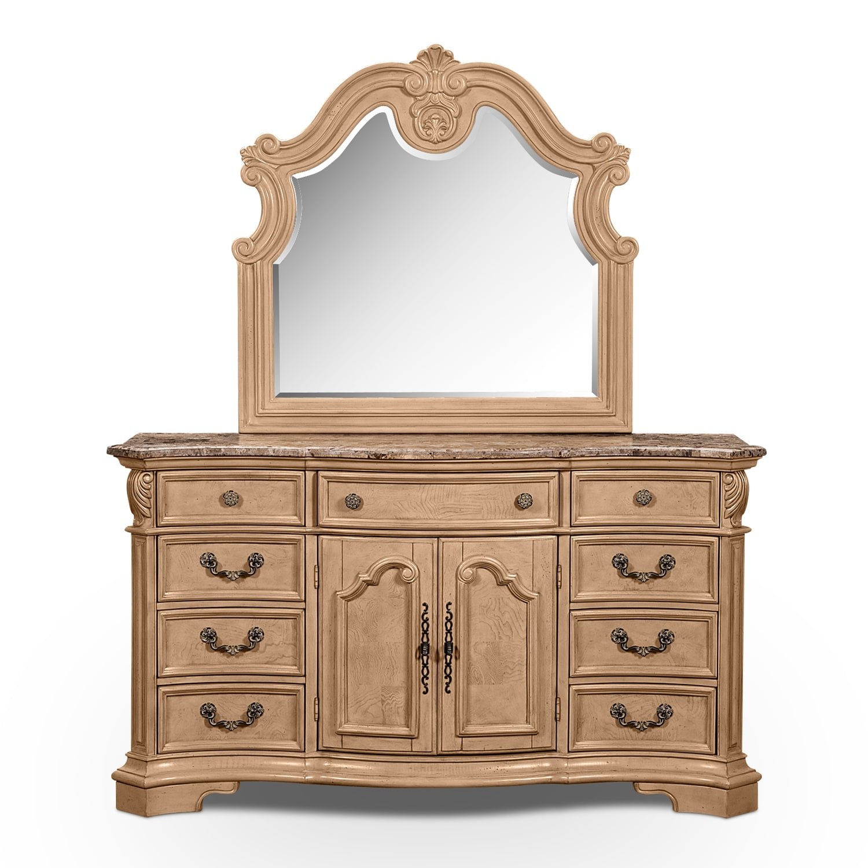 monticello almond dresser mirror value city furniture