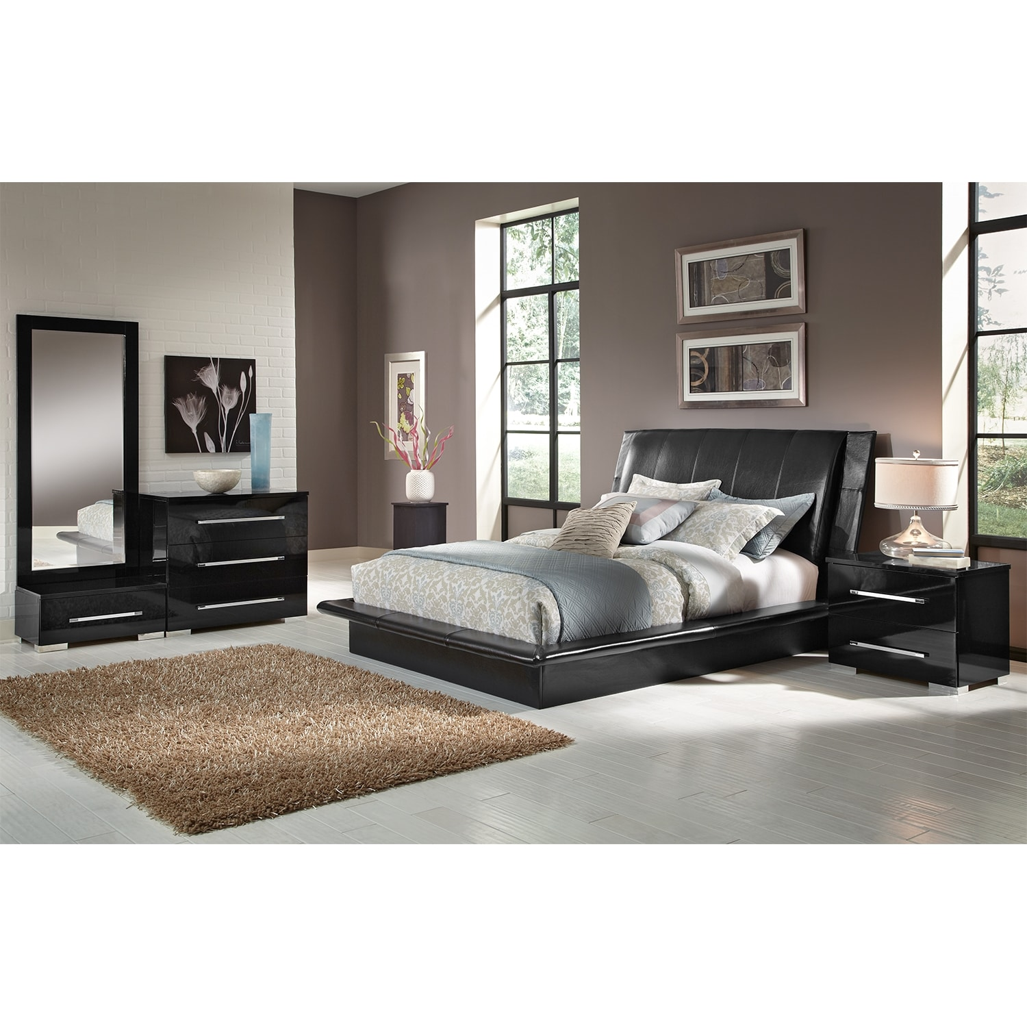 Dimora 6 piece queen upholstered bedroom set black value city furniture - Queen bedroom sets ...