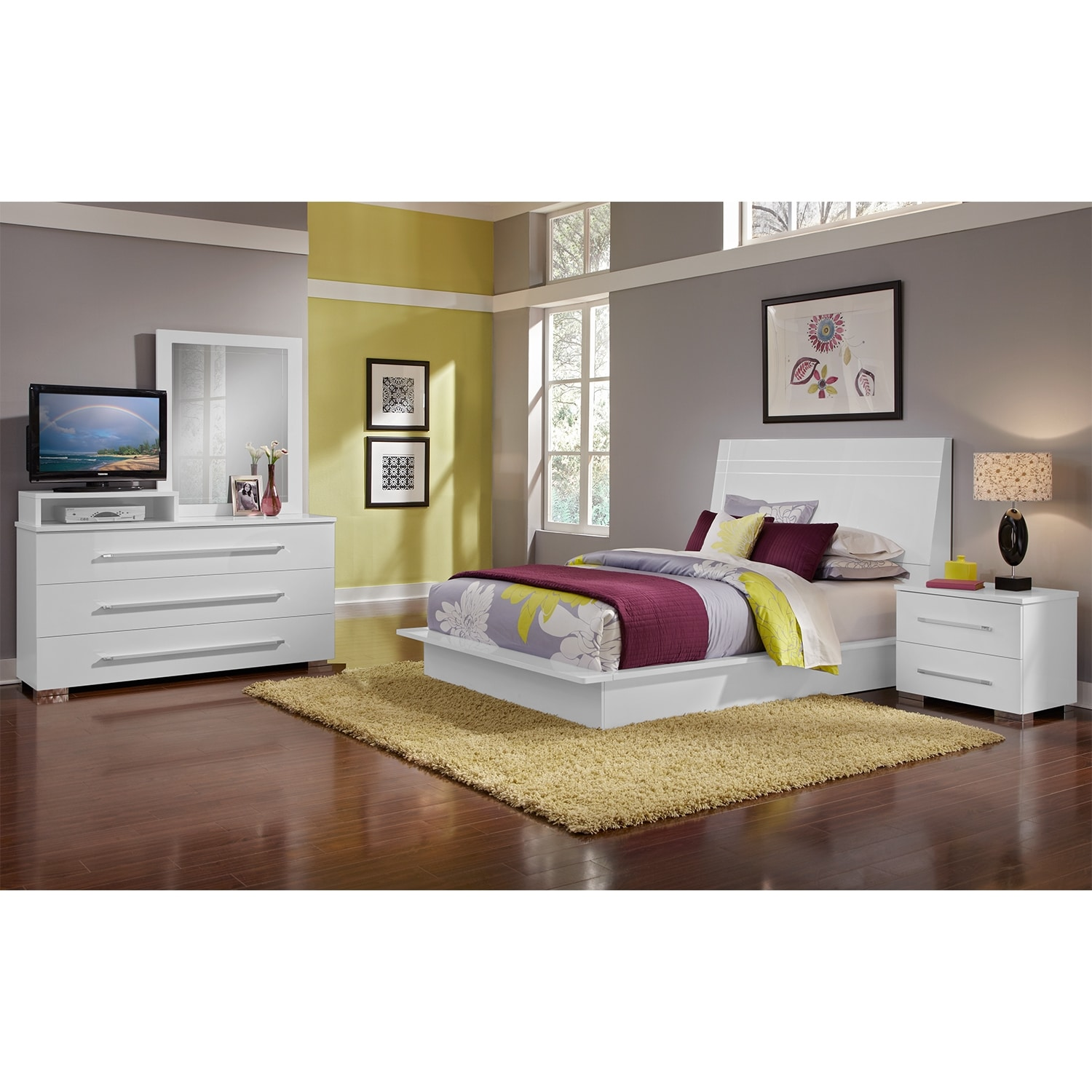 Dimora White II 6 Pc Queen Bedroom American Signature Furniture