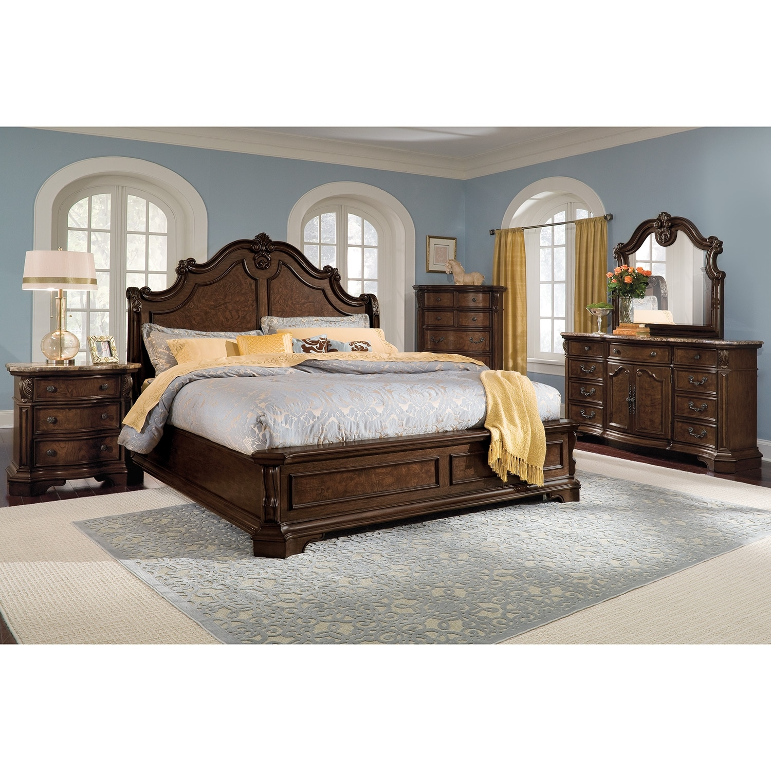 Monticello nightstand pecan american signature furniture for Bedroom furniture value city
