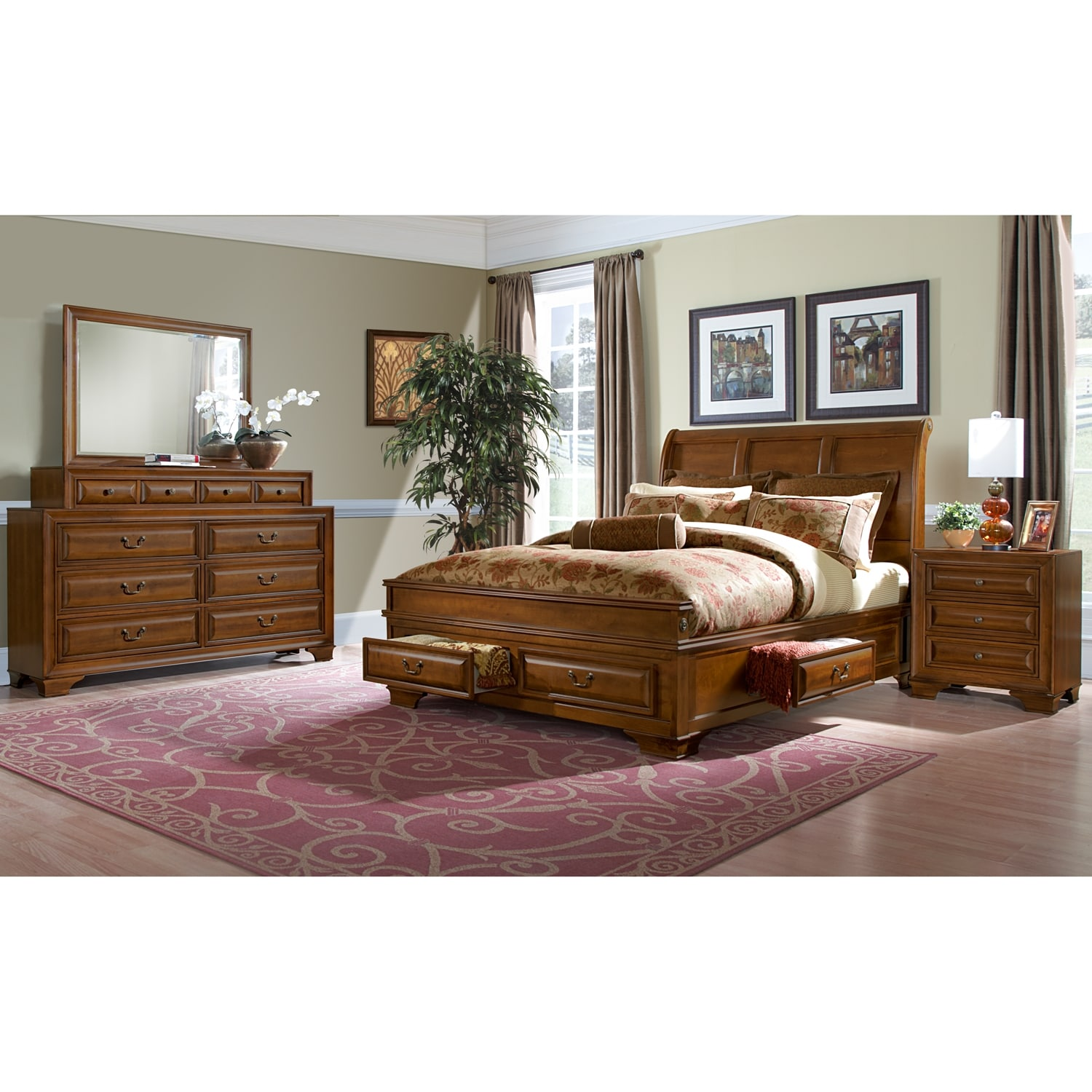 Storage Bedroom Furniture: Sanibelle 6-Piece King Storage Bedroom Set - Pine