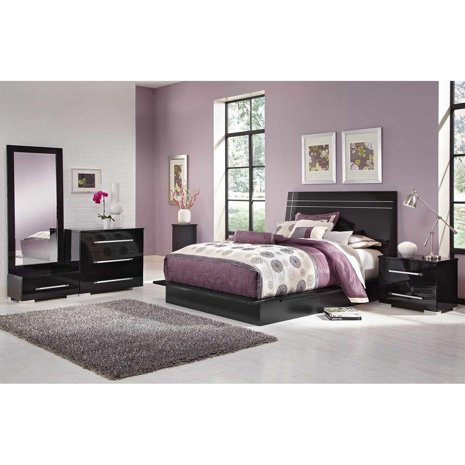 Dimora 6 piece queen panel bedroom set black american for Bedroom 6 piece set