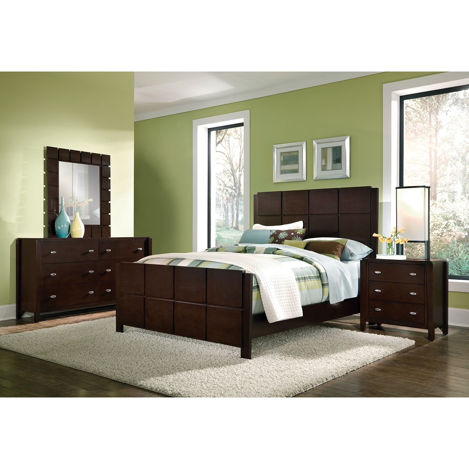 Mosaic 6 piece queen bedroom set dark brown value city for Bedroom furniture set