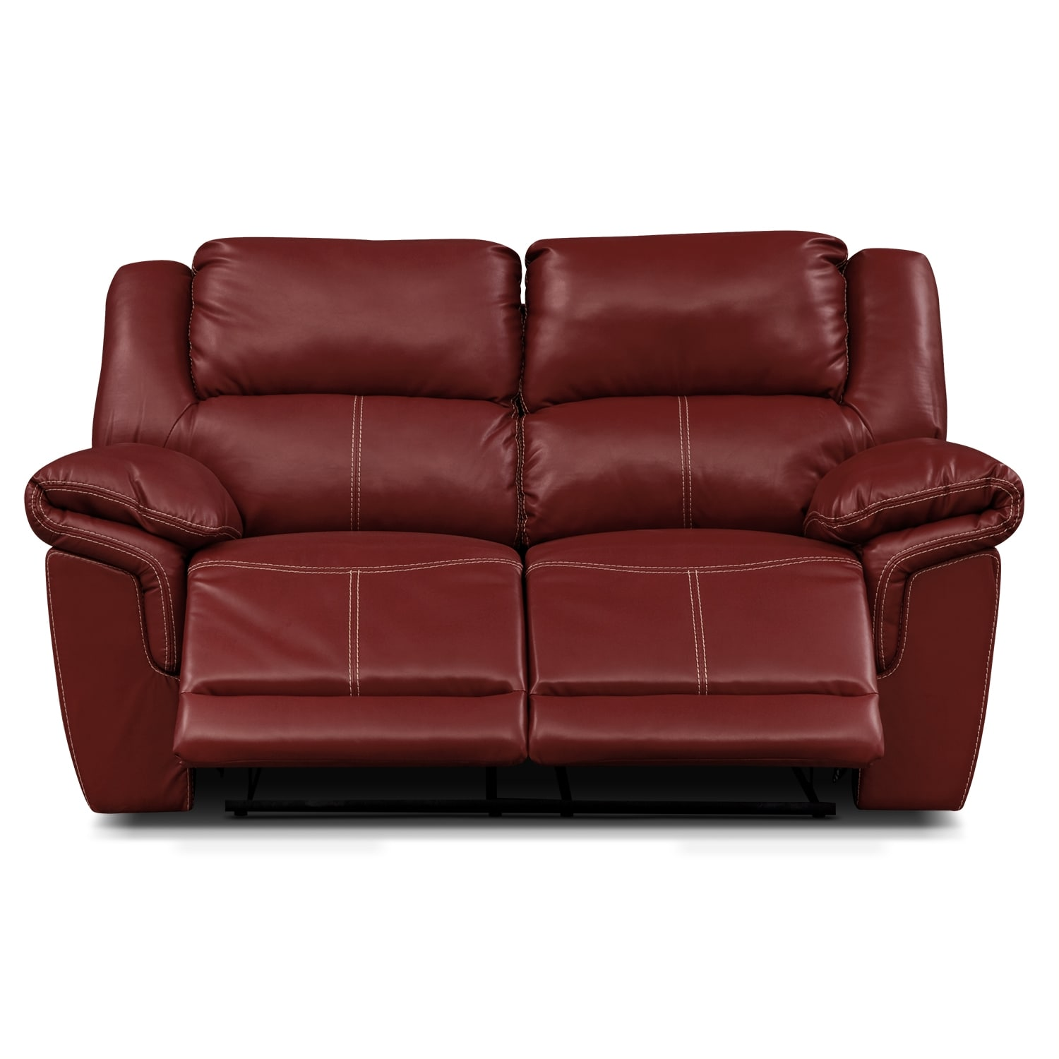 Jaguar ii leather dual reclining loveseat value city furniture Leather loveseat recliners