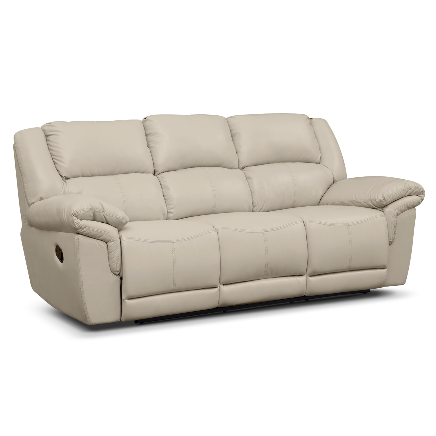 Farrell Almond Leather Dual Reclining Sofa