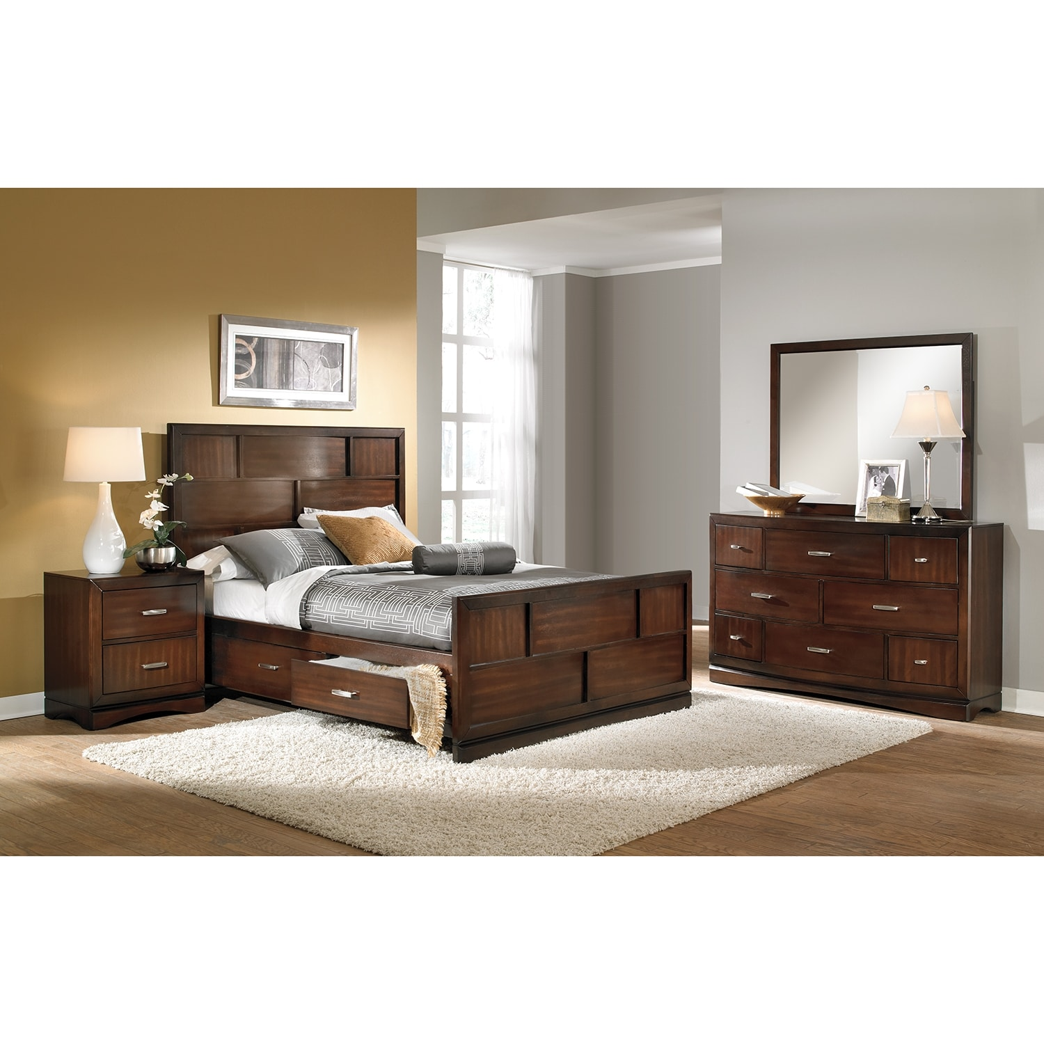 Toronto 6 piece king storage bedroom set pecan for American furniture bedroom furniture