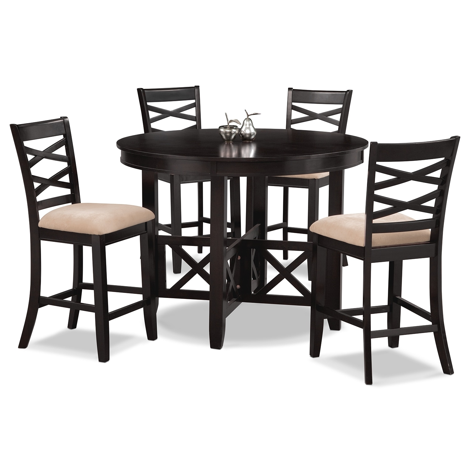 Impressive Value City Furniture Dining Room Sets: Americana Espresso 5 Pc. Counter-Height Dinette