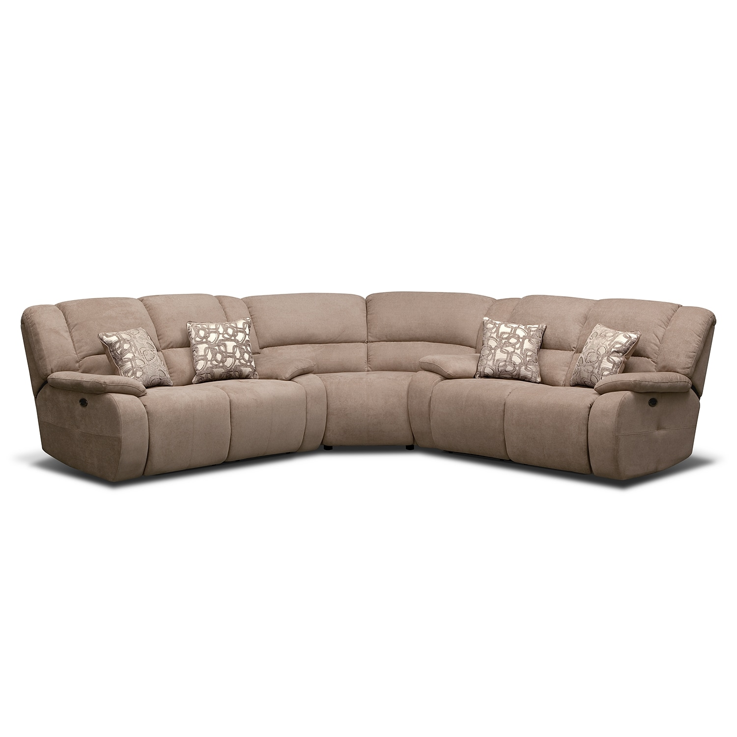 Fortuna ii beige 3 pc power reclining sectional for 3 pc sectional sofa with recliners